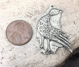 Polished Bird Pendant, Artisan Handcrafted Jewellery Design, Handmade Jewelry Making Components, Hand Cast Pewter, DIY - No. 24-PP