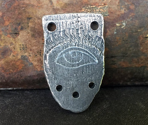 Eye Connector Pendant, Handcrafted, Handmade, Rustic Jewelry, Hand Cast, Pewter, Artisan -  No. 102PD