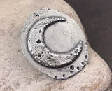 Polished Crescent Moon Pendant, Artisan Handcrafted Jewellery Design, Handmade Jewelry Making Components, Hand Cast Pewter, DIY No. 33-PP