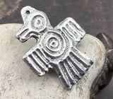 Polished Aztec Bird Pendant, Artisan Handcrafted Jewellery Design, Handmade Jewelry Making Components, Hand Cast Pewter, DIY No. 16-PP