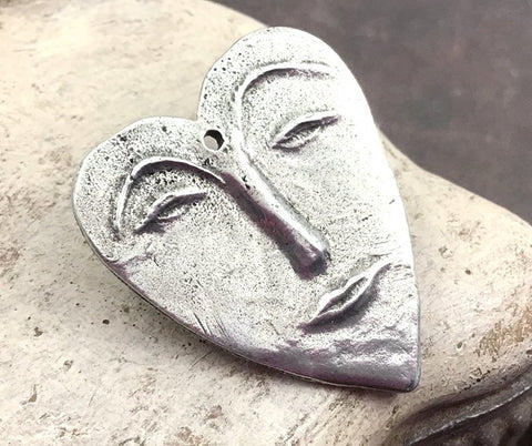 Heart Face Pendant, Artisan Handcrafted Handmade Jewelry  Making Components, Hand Cast Pewter, DIY Crafting Womens Jewellery No. 25-PP