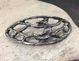 Crescent Moon Openwork Bracelet Focal for Jewelry Making, Handmade Components, Hand Cast Pewter, DIY, Craft, Artisan Handcrafted