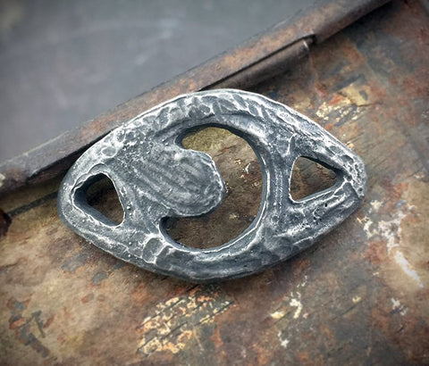 Moon Bracelet Focal, Handcrafted Handmade Jewelry Making Components, Artisan Crafted DIY Jewellery Supplies, Hand Cast Pewter