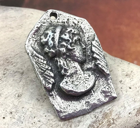 Polished Lady Portrait Pendant, Artisan Jewellery Design, Handmade Jewelry Making Components, Hand Cast Pewter, DIY Crafts, Womens No. 79-PP