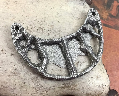 Polished Handmade Statement Connector Pendant, Organic Style Openwork Artisan Jewellery Making Components, Hand Cast Pewter, DIY No. 139-PP