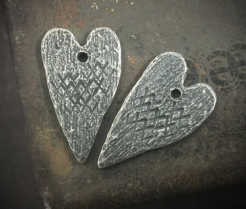 Heart Charms, Handcrafted Jewellery Making Components, Pewter Earring Charms, Handmade  crafting Supplies, DIY, Artisan No. 59-CD