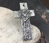 Polished Cross Pendant with Heart, Artisan Jewellery Design, Handmade Jewelry Making Components, Hand Cast Pewter, Womens No. 45-PP