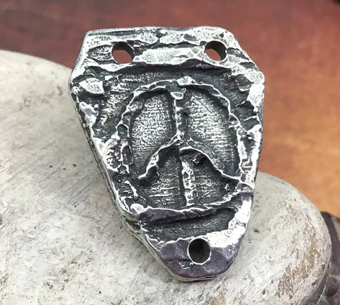 Polished Peace Symbol Connector Pendant, Handcrafted Artisan Pewter Jewellery Making Components, Handcast DIY Crafting No. 82-PP