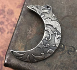 Crescent Moon Pendant, Handcrafted Handmade Jewelry Making Components, Hand Cast Pewter, Artisan Crafting DIY Crafts No. 155-PD