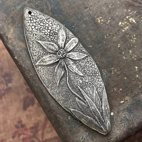 Flower Pendant, Handcrafted Handmade Jewelry Making Components, Hand Cast Pewter, Artisan Crafting DIY Crafts No. 153-PD