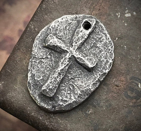Rustic Gothic Cross Pendant, Handcrafted Handmade Jewelry Components, Artisan Religious Symbols, DIY Hand Cast Pewter Metal - 179-PD