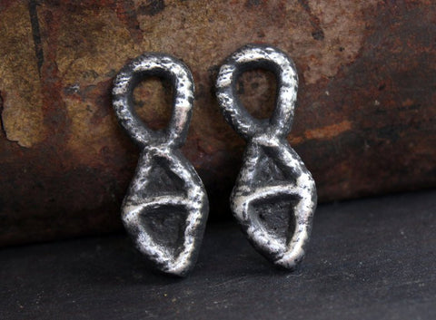 Primitive Jewelry Charms, Handcrafted Handmade Artisan DIY Jewellery Making Components, Pewter Metal Accessories, Hand Cast Crafts - 175-CDO