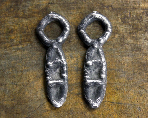 Primitive Jewelry Charms, Handcrafted Handmade Artisan DIY Jewellery Making Components, Hand Cast Pewter Metal, Rustic Aged - 228-CD