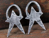 Rustic Star Charms Jewelry, Handcrafted Handmade Artisan DIY Jewellery Making Components, Hand Cast Pewter Metal, Primitive Aged -  297-CD