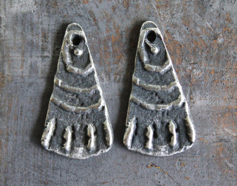 Primitive Jewelry Charms, Handcrafted Handmade Artisan DIY Jewellery Making Components, Pewter Metal Accessories, Hand Cast Crafts - 395-CD