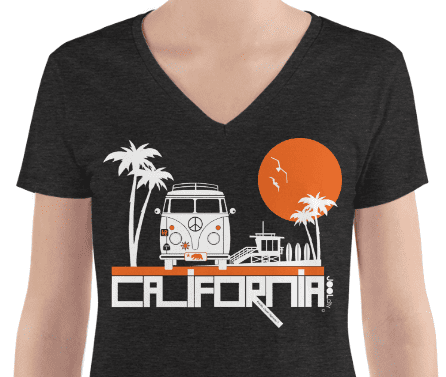 California Beach Peace Women's Fashion Deep V-neck Tee