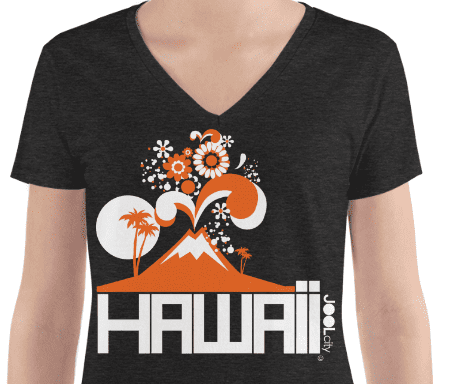 Hawaii Mountain Eruptous Women's Fashion Deep V-neck Tee