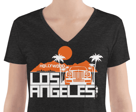 Los Angeles Hollywood Star Women's Fashion Deep V-neck Tee