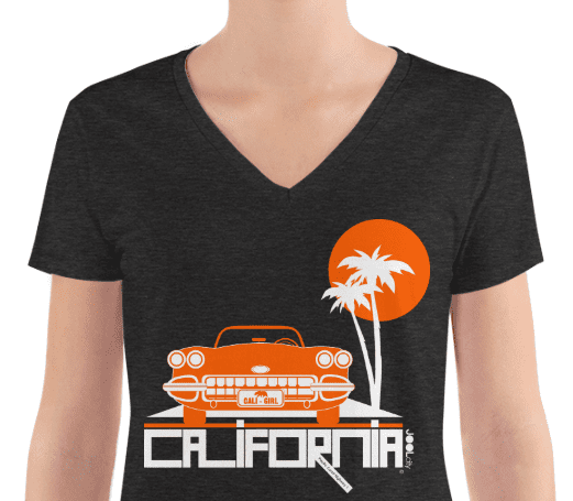 California Cool Cruise Women's Fashion Deep V-neck Tee