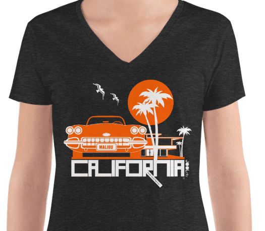 California Mid-Century Ride Women's Fashion Deep V-neck Tee