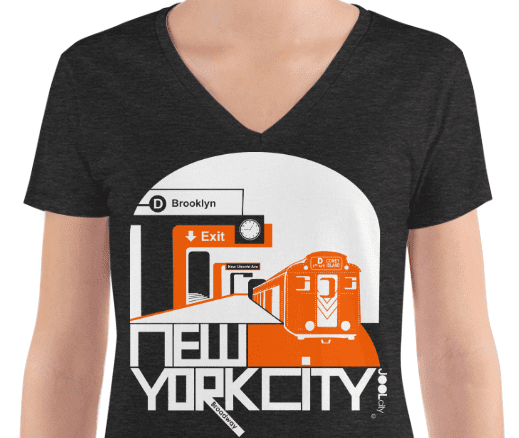 New York Brooklyn Bound Women's Fashion Deep V-neck Tee