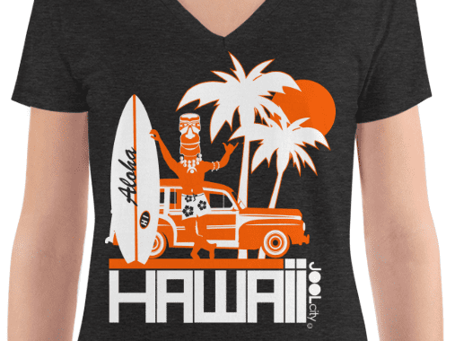 Hawaii Surfin Woody Women's Fashion Deep V-neck Tee