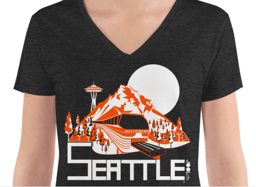 Seattle Mountain Monorail Women's Fashion Deep V-neck Tee