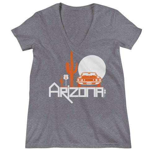 Arizona Cactus Cruise Women's Fashion Deep V-neck Tee T-Shirts Grey Triblend / 2XL designed by JOOLcity