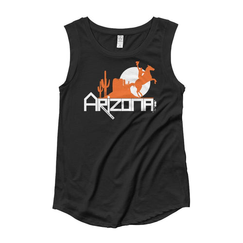 Arizona Cowboy Canyon Ladies' Cap Sleeve Tank-Top Tank Tops Black / XL designed by JOOLcity
