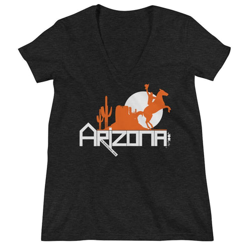 Arizona Cowboy Canyon Women's Fashion Deep V-neck Tee T-Shirts Charcoal black Triblend / 2XL designed by JOOLcity