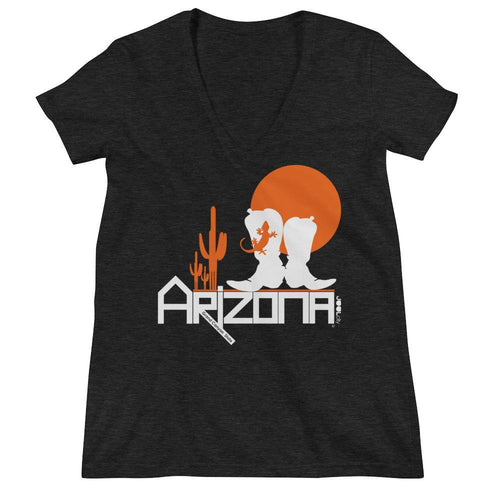 Arizona Desert Booties Women's Fashion Deep V-neck Tee T-Shirts Charcoal black Triblend / 2XL designed by JOOLcity