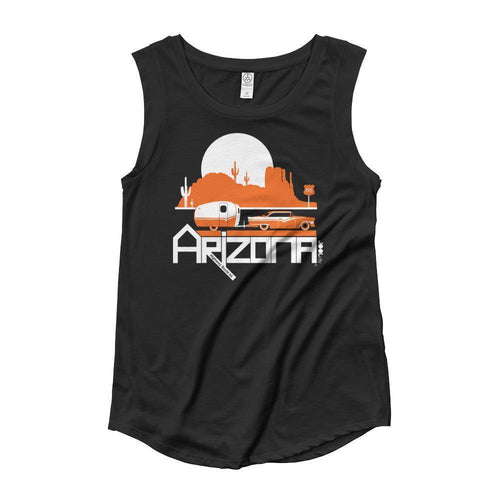 Arizona Retro Route 66 Ladies' Cap Sleeve Tank-Top Tank Top Black / M designed by JOOLcity