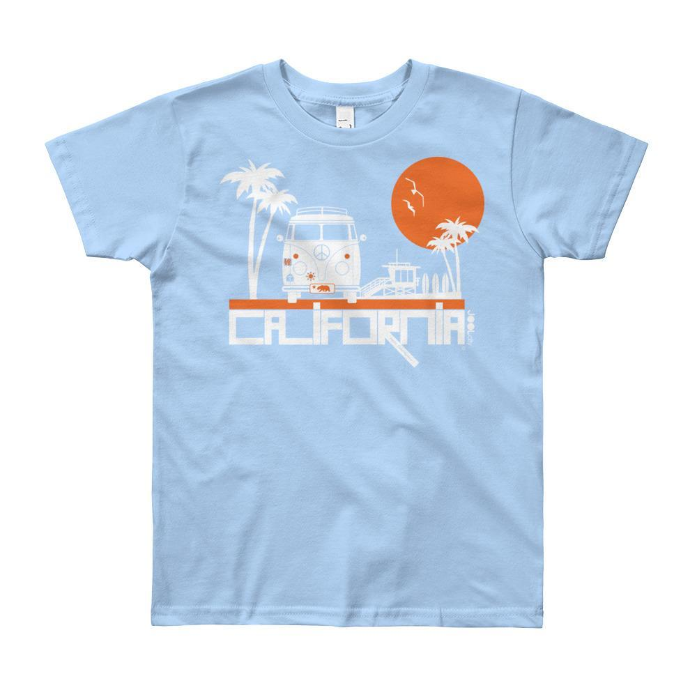 California Beach Peace Short Sleeve Youth T-shirt T-Shirt Baby Blue / 12yrs designed by JOOLcity