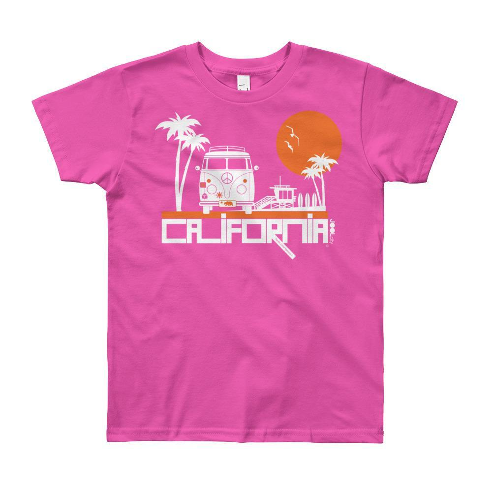 California Beach Peace Short Sleeve Youth T-shirt T-Shirt Fuchsia / 12yrs designed by JOOLcity