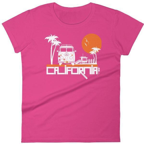 California  Beach Peace  Women's Short Sleeve T-Shirt T-Shirt Hot Pink / 2XL designed by JOOLcity