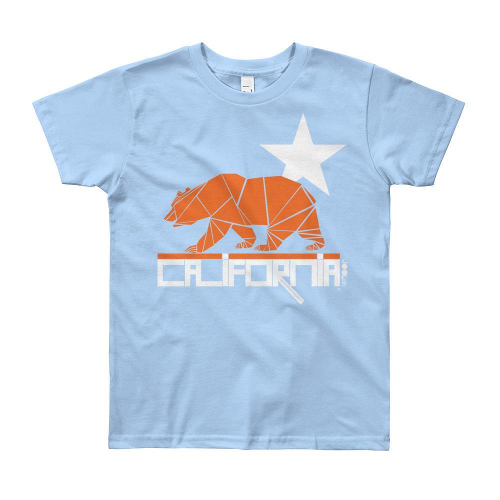 California Geo Bear Short Sleeve Youth T-shirt T-Shirt Baby Blue / 12yrs designed by JOOLcity