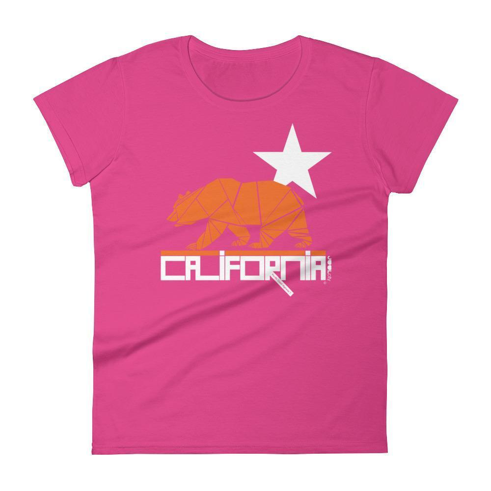California  Geo Bear  Women's Short Sleeve T-Shirt T-Shirt Hot Pink / 2XL designed by JOOLcity