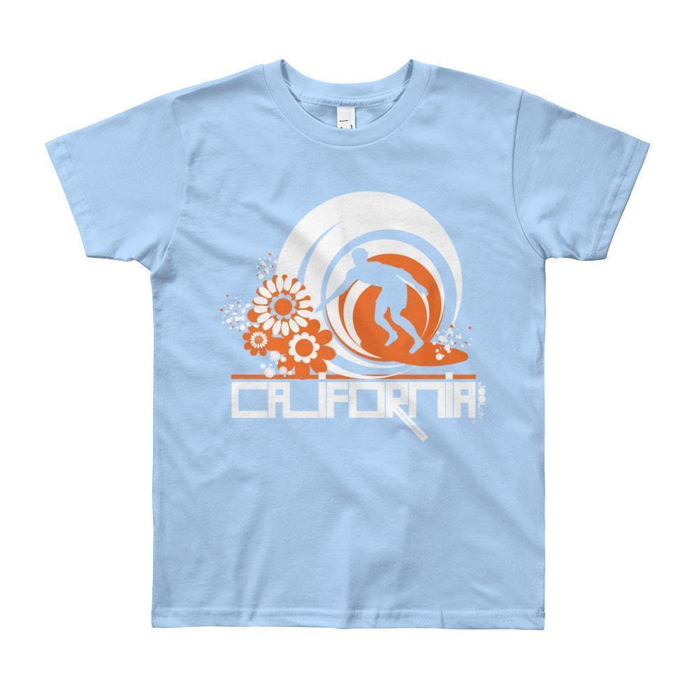California Ripcurl Flower Power Short Sleeve Youth T-shirt T-Shirt Baby Blue / 12yrs designed by JOOLcity
