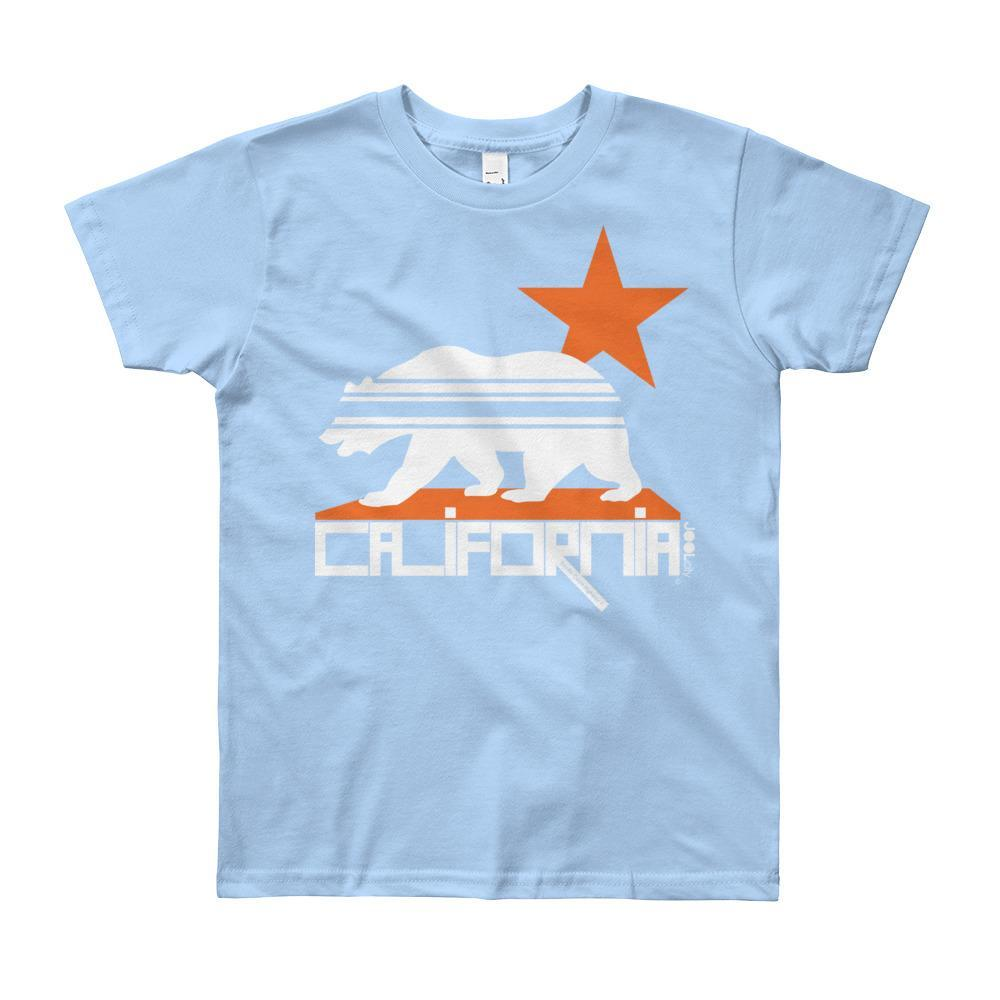 California Stars & Stripes Short Sleeve Youth T-shirt T-Shirt Baby Blue / 12yrs designed by JOOLcity