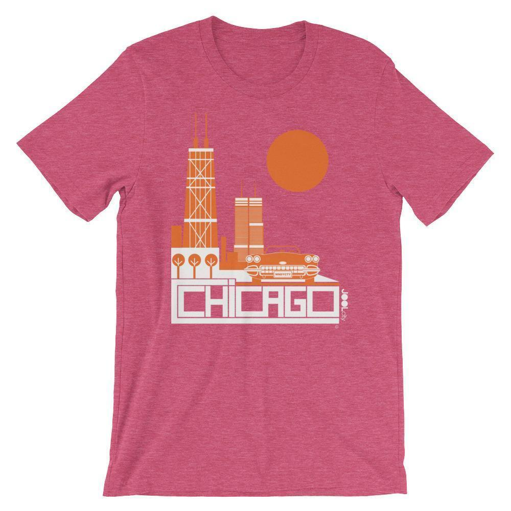 Chicago Downtown Ride Short-Sleeve Men's T-Shirt T-Shirt Heather Raspberry / 2XL designed by JOOLcity