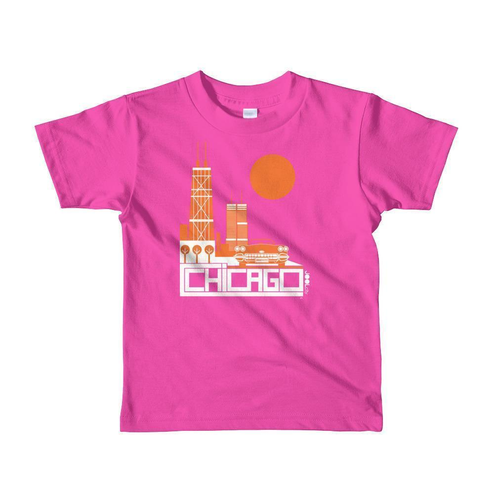 Chicago Downtown Ride Toddler Short Sleeve T-shirt T-Shirt Fuchsia / 6yrs designed by JOOLcity