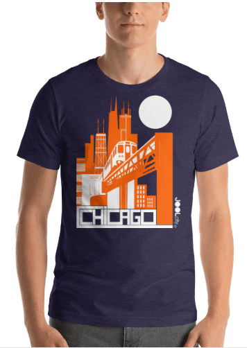 Chicago El Train Short-Sleeve Men's T-Shirt T-Shirt  designed by JOOLcity