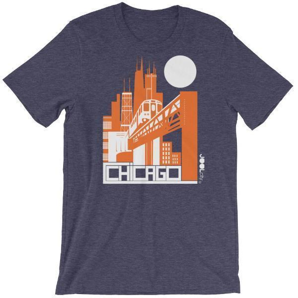Chicago El Train Short-Sleeve Men's T-Shirt T-Shirt Heather Midnight Navy / 2XL designed by JOOLcity