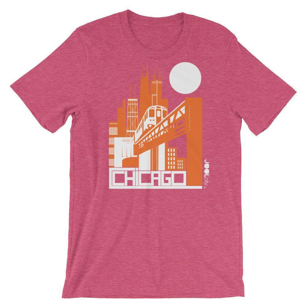 Chicago El Train Short-Sleeve Men's T-Shirt T-Shirt Heather Raspberry / 2XL designed by JOOLcity