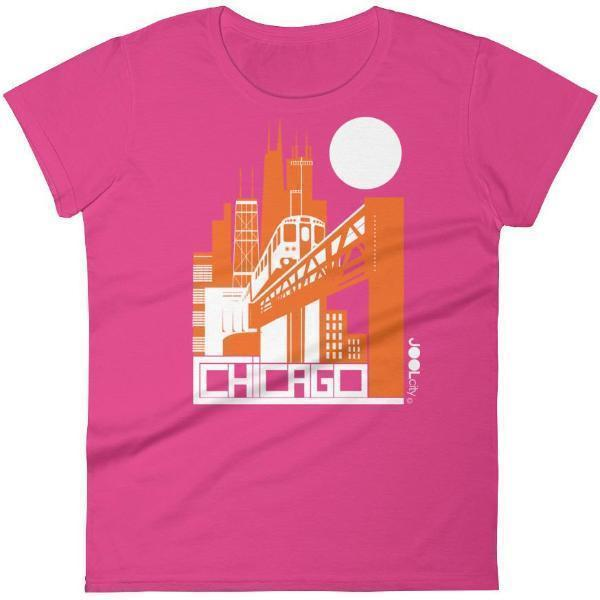 Chicago El Train Women's Short Sleeve T-shirt T-Shirt Hot Pink / 2XL designed by JOOLcity
