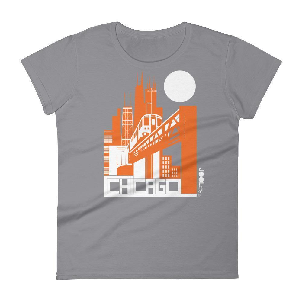 Chicago El Train Women's Short Sleeve T-shirt T-Shirt Storm Grey / 2XL designed by JOOLcity