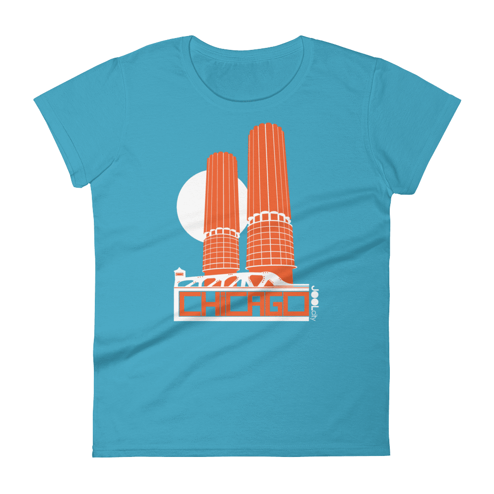 Chicago Marina Towers Women's Short Sleeve T-Shirt T-Shirt Caribbean Blue / 2XL designed by JOOLcity