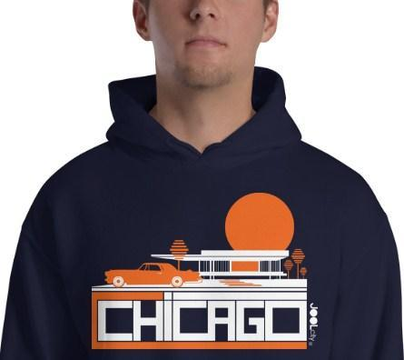 Chicago Mid-Century Ride Hooded Men's Sweatshirt
