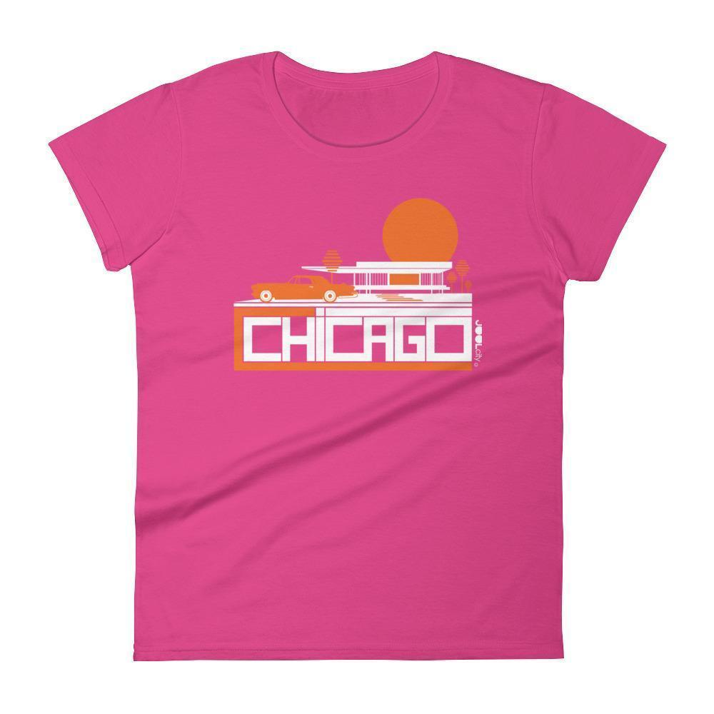 Chicago Midcentury Ride Women's Short Sleeve T-shirt T-Shirt Hot Pink / 2XL designed by JOOLcity