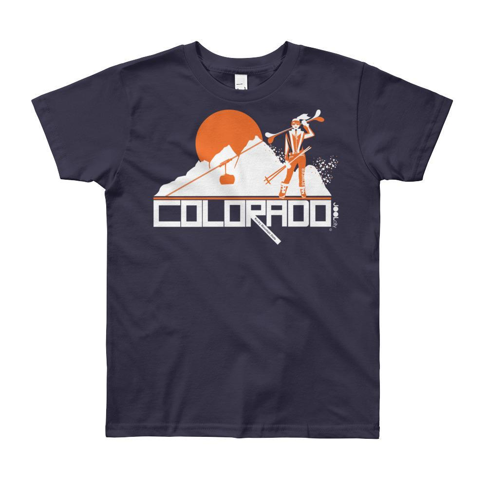 Colorado Apres Ski Short Sleeve Youth T-shirt T-Shirt Navy / 12yrs designed by JOOLcity